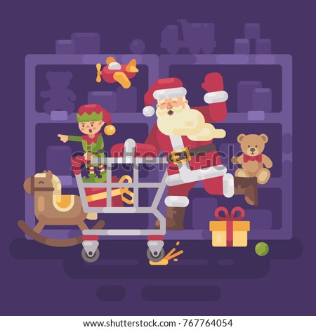 Stock Photo Santa Claus riding a shopping cart with his elf in a toy supermarket. Christmas flat illustration