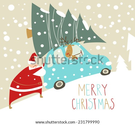 santa claus riding in a car