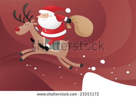 Santa Claus riding Reindeer jumping from the snow