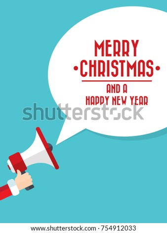 Santa Claus's hand holding megaphone with merry christmas speech bubble. Concept for social networks, promotion and advertising. Flat design vector illustration.