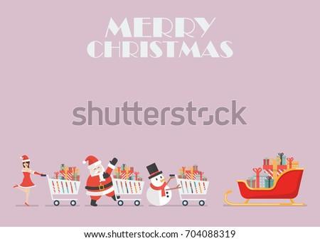 Santa claus Santa girl and Snowman push a shopping cart to sleigh. Vector illustration poster
