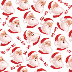 Santa Claus seamless pattern, set of 6 real emotions. Ideal for wallpapers, textiles, backdrops, wrapping paper. Template design.On white background. Evil, kind, cheerful.