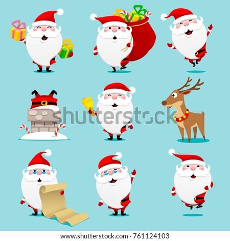 Santa claus set. Christmas. Vector illustration.