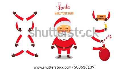 Santa Claus set for animation. Different hands poses with some objects. Make Your Own Santa