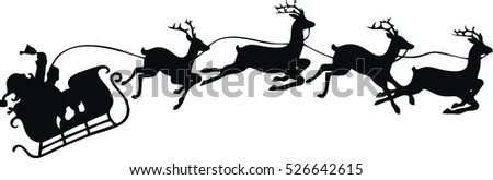 santa claus silhouette riding a