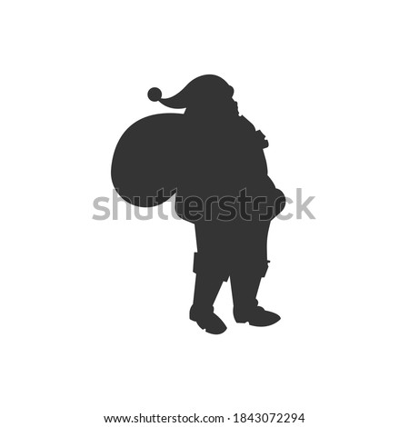 Santa Claus silhouette vector on a white background