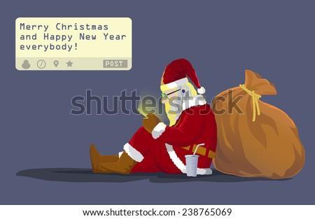 santa claus sit on the ground