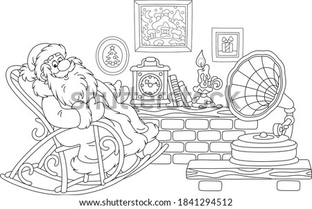 Santa Claus sitting in his creaking rocking chair, resting after a winter walk in a snowy forest and listening to music from an old gramophone in a cozy warm hall, vector cartoon illustration Foto d'archivio ©