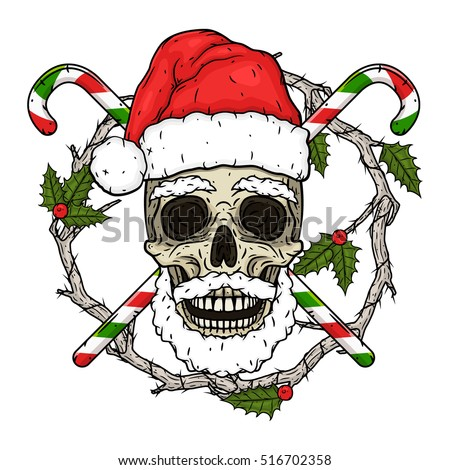 santa claus skull cartoon