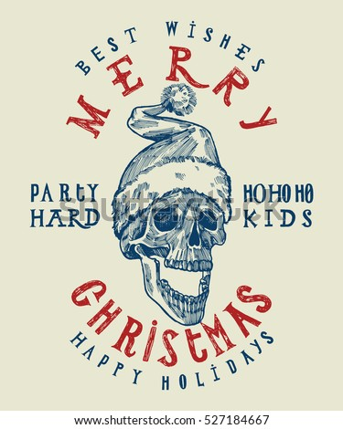 santa claus skull print tough