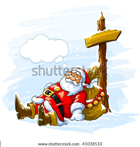 Santa Claus sleeping near the post with arrow sign and big sack of Christmas gifts - vector illustration