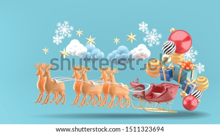 Santa Claus sleigh and gift boxes floating on the sky.