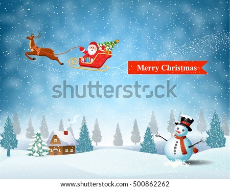santa claus sleigh fly over the