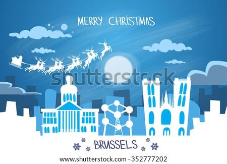 santa claus sleigh reindeer fly