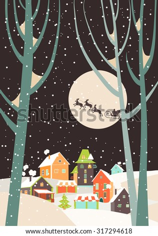 Stock Photo Santa Claus sleigh with reindeer fly over the city and throws gifts on the background of the moon. Vector greeting card