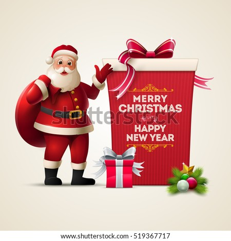 Stock Photo Santa Claus smiling and show huge gift box. Merry Christmas and Happy New Year text on the box. Christmas vector illustration.