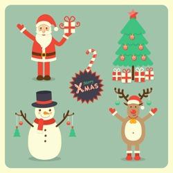 Santa Claus, snowman, reindeer and Christmas tree, Christmas holiday greeting set.