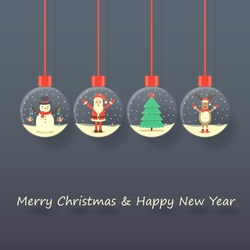 Santa Claus, snowman, reindeer and Christmas tree in snow globes hanging on dark background. vector.