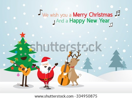 Santa Claus, Snowman, Reindeer, Playing Music Background, Characters, Merry Christmas and Happy New year