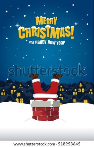 Santa Claus Stuck In The Chimney On Snow Roof. Christmas Cartoon Vector Illustration.