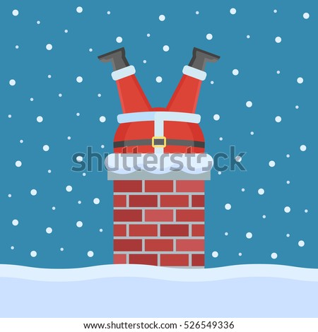 Santa Claus stuck in the chimney on the roof. Christmas flat style vector illustration.