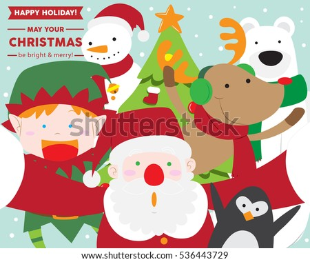 Stock Photo Santa Claus taking selfie with Christmas Elf, Reindeer, Polar Bear, Snowman, penguin, cute vector greeting card for christmas and new year season