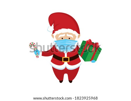 Santa Claus wearing medical mask on face to prevent Covid-19 icon vector. Santa Claus with protective mask holding gift box cartoon character. Santa with coronavirus mask icon. COVID-19 Christmas icon
