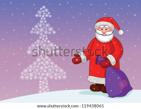 Santa Claus with a bag of gifts near the Christmas tree of snowflakes