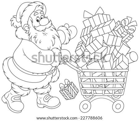 santa claus with a shopping