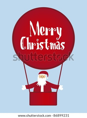 santa claus with air balloons isolated over blue background. vector