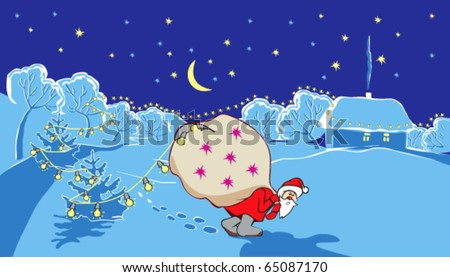 Santa Claus with big bag goes on snow-covered countryside in New Year's winter night