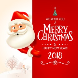 Santa Claus with big signboard. Merry Christmas and Happy New Year! Holiday greeting card. Isolated vector illustration.