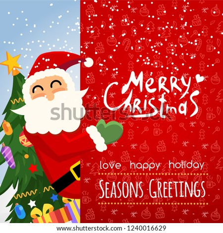 555fd952ad5dc Santa Claus with big signboard. Merry Christmas and Happy New Year! Holiday  greeting card