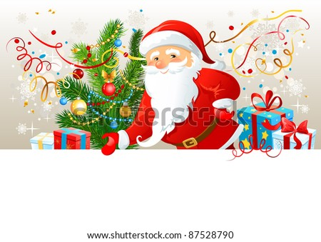 Santa Claus with blank board.