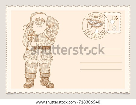 Santa Claus With Box Of Candy Or Gifts Vintage Christmas And Happy New Year Greeting