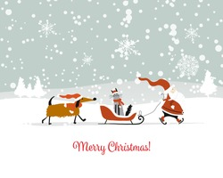 Santa Claus with cat and dog. Christmas card