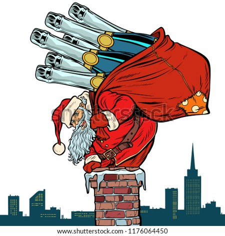 Santa Claus with champagne climbs the chimney. Isolate on white background. Pop art retro vector illustration vintage kitsch drawing