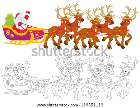 Santa Claus with Christmas gifts drives in his sleigh pulled by reindeers