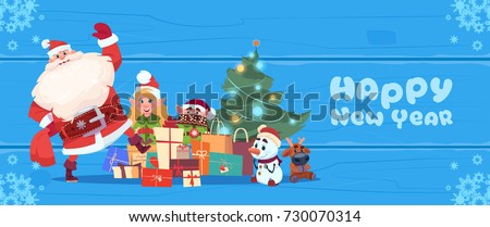 Stock Photo Santa Claus With Elfs Over Christmas Tree On Happy New Year Greeting Card Holiday Concept Flat Vector Illustration