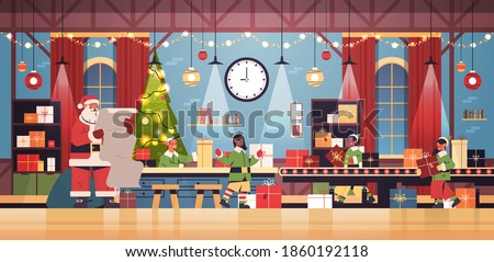 santa claus with elves putting gifts on machinery line conveyor happy new year christmas holidays celebration concept modern workshop interior horizontal vector illustration Foto stock ©