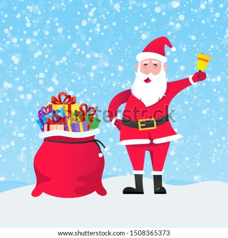 Santa Claus with gift bag and present gifts standing up with falling snow flat style design vector illustration. Merry christmas and happy new year symbols.