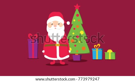 Santa Claus with gifts and a Christmas tree #773979247