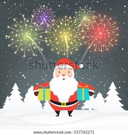 santa claus with gifts on snowy