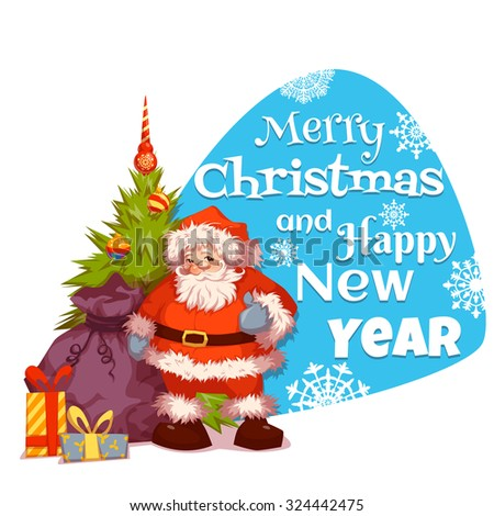 Santa Claus with pine and gifts. Merry Christmas. Vector #324442475