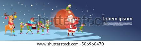 santa claus with reindeer elfs