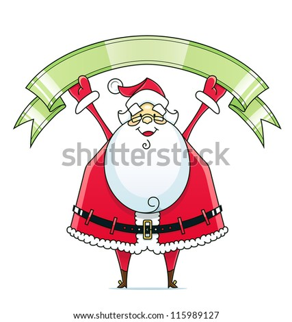 Santa Claus with ribbon vector illustration isolated on white background