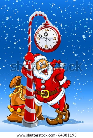santa claus with sack of gifts stands under the clock vector illustration