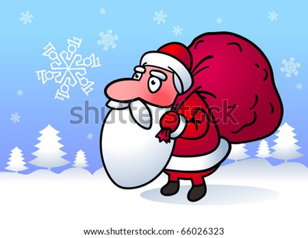 Santa Claus with sack of presents. Cartoon illustration.