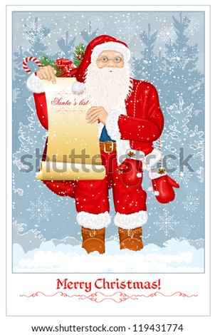 Santa Claus with Santa's list and big sack with presents on snow background. vector illustration