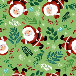 Santa Claus with snow flake, holly berry, leaves seamless repeat pattern. Cute Christmas holidays cartoon character background perfect for textile, fabric, wrapping paper.